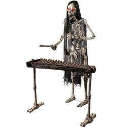 Squelette musicien yeux lumineux avec xylophone 175 cm Déco festive 08492