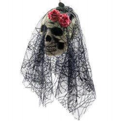 Tête de squelette mariée avec voile à suspendre 50 cm Déco festive 09084