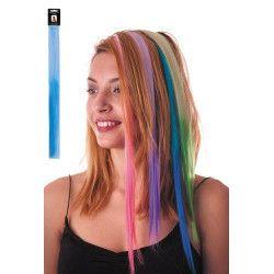 Mèche de cheveux manga bleue à clipser Accessoires de fête 86249