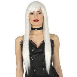 Perruque longue Lisa blanche Accessoires de fête 4113