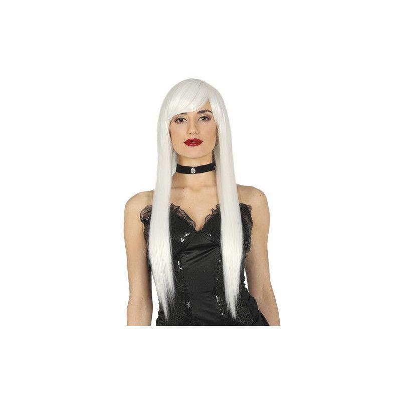 Accessoires de fête, Perruque blanche longue femme, 4113, 18,90€