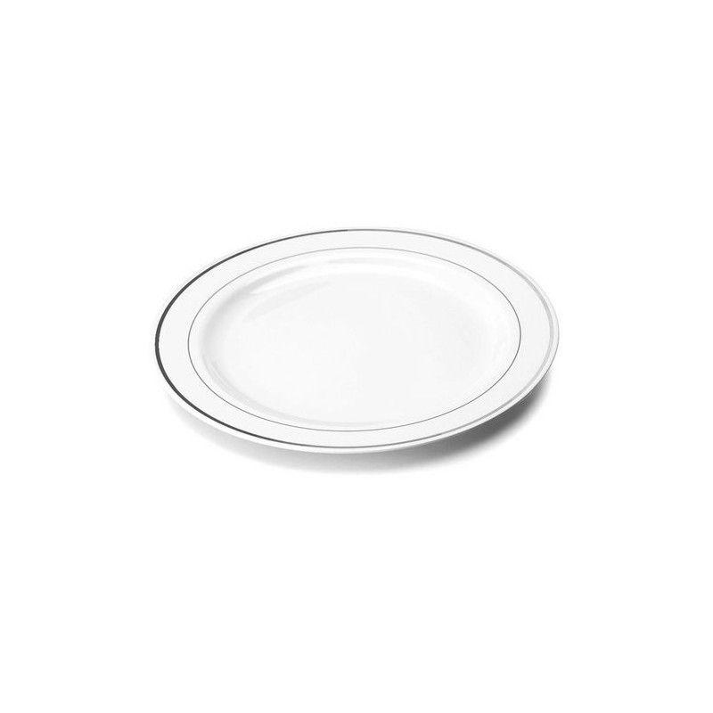 Assiettes plastique x 20 blanches avec liseré argent 23 cm Déco festive V5523LISAR