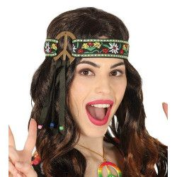 Accessoires de fête, Tour de tête hippie Peace and Love, 13604, 3,90€
