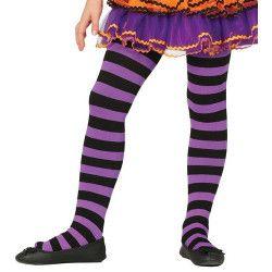 Collants violets et noirs enfant taille 5-9 ans Accessoires de fête 17220