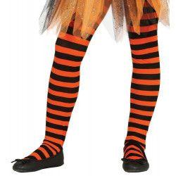 Collants orange et noirs enfant taille 5-9 ans Accessoires de fête 17221