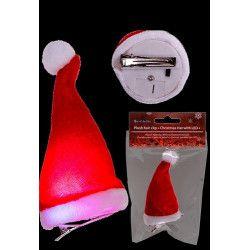 Accessoires de fête, Pince à cheveux bonnet Père Noël 12 cm lumineux, 99/6123, 2,40€