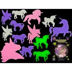 Déco festive, Sachet 14 licornes fluorescentes dans le noir, 90/1056, 1,90€