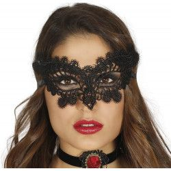 Masque en dentelle noire Accessoires de fête 12901