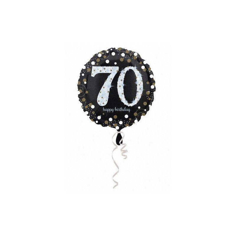 Ballon aluminium rond holographique 70 ans 43 cm Déco festive 3374101