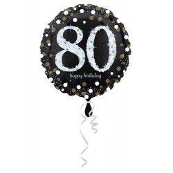 Déco festive, Ballon aluminium rond holographique 80 ans 43 cm, 3374201, 3,70€