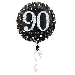 Ballon aluminium rond holographique 90 ans 43 cm Déco festive 3374301