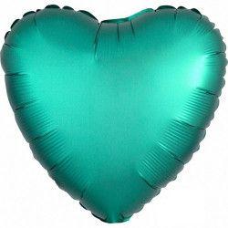 Ballon métallisé satin luxe jade coeur 43 cm Déco festive 3679901