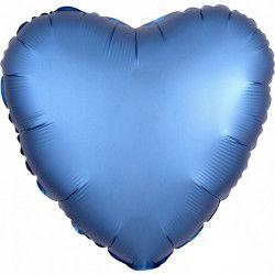 Ballon métallisé Satin Luxe Azure coeur 43 cm Déco festive 3680901
