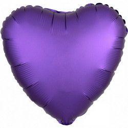 Ballon métallisé Satin Luxe Purple Royale coeur 43 cm Déco festive 3681801
