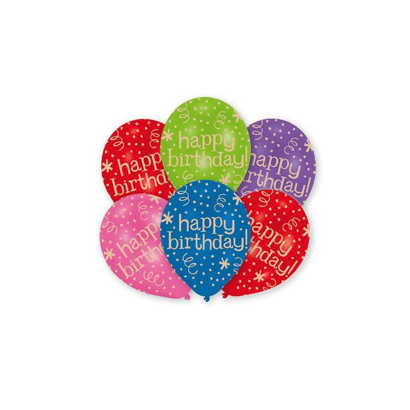 Sachet 6 ballons Happy Birthday 27.5 cm Déco festive 9901851