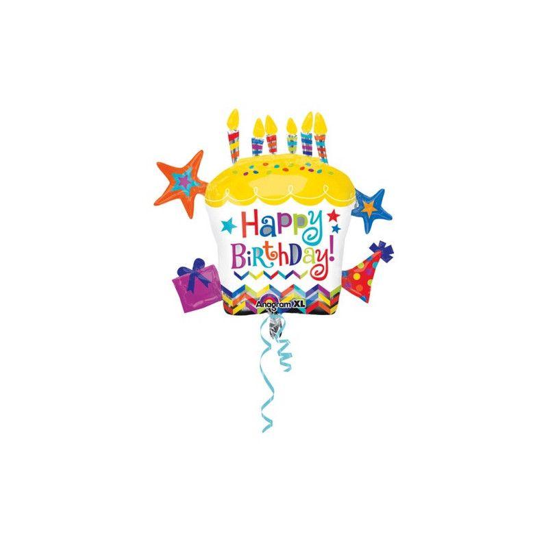 Ballon géant Happy Birthday forme cupcake 71 cm Déco festive 2879601