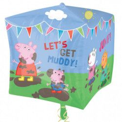 Ballon aluminium cube Peppa Pig et ses amis™ 38 cm Déco festive 2929701
