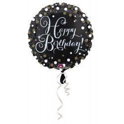 Ballon aluminium rond holographique Happy Birthday 43 cm Déco festive 3406201