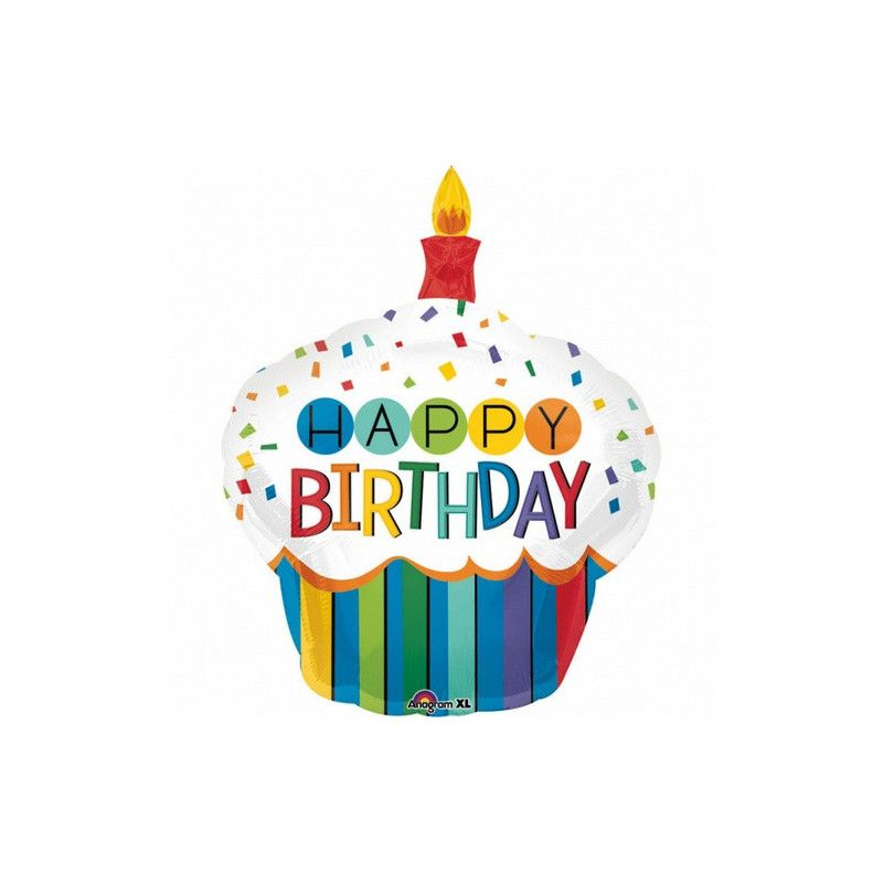 Ballon aluminium cupcake Happy Birthday 91 cm Déco festive 3444201