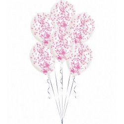 Déco festive, Sachet 6 ballons latex transparent avec confettis roses, 9903279, 5,90€