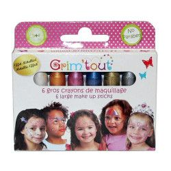 Accessoires de fête, Boite 6 gros crayons maquillage effet métallisé, GT41949-, 9,50€