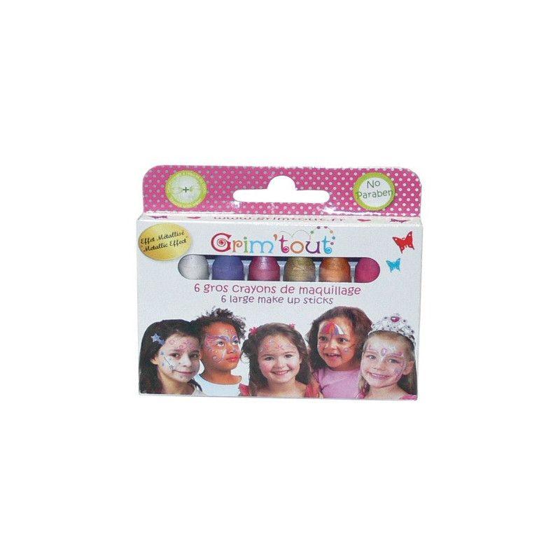 Boite 6 gros crayons maquillage Princesse effet métallisé