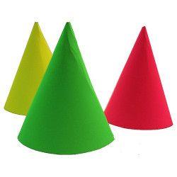 Déco festive, Sachet de 6 chapeaux pointus fluo, 20202FL, 1,29€