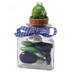 Pot en verre 3 faces avec bouchon en liège Déco festive 15402