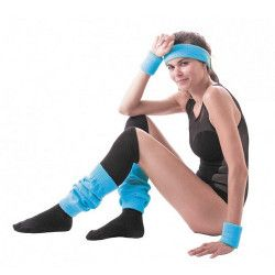 Set poignets et bandeau éponge néon bleu Accessoires de fête 333530