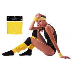 Accessoires de fête, Set poignets et bandeau éponge néon jaune, 33355, 4,50€