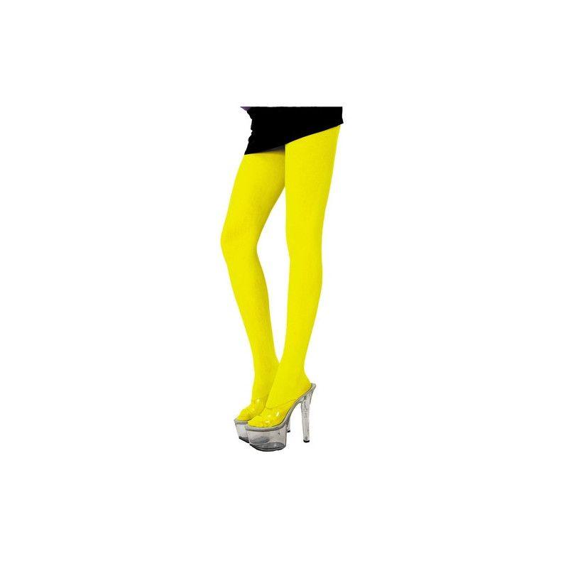 Collant fluo jaune adulte Accessoires de fête 87270065