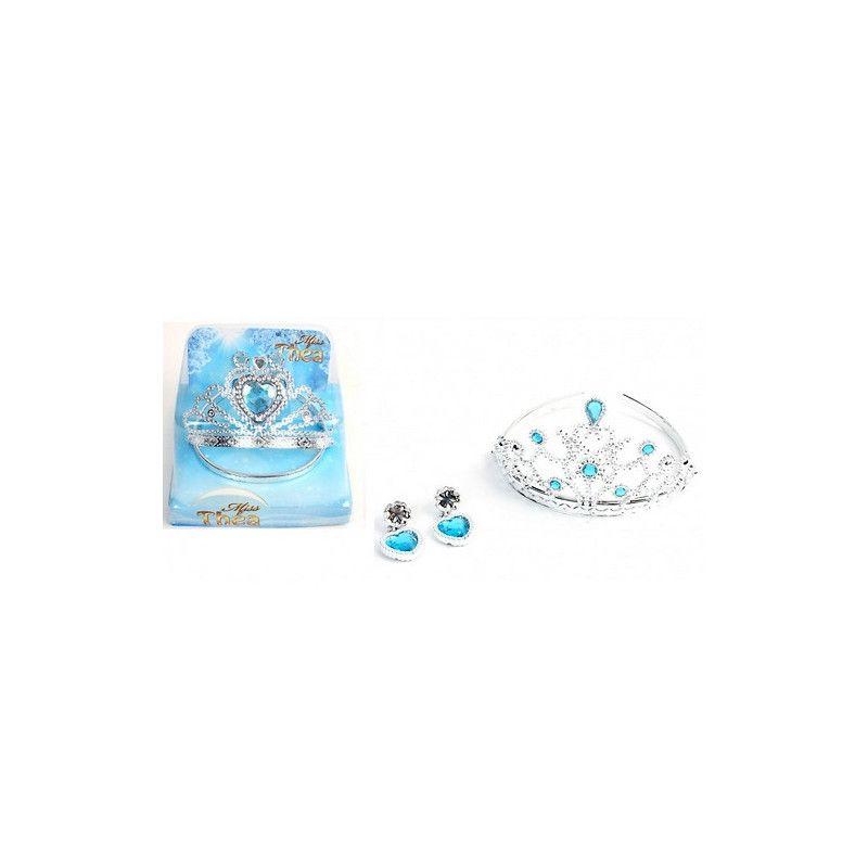 Diadème et boucles d'oreilles princesse bleues Jouets et kermesse 32008