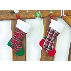 Déco festive, Chaussette de Noël tartan 42 cm, 90811, 3,90€