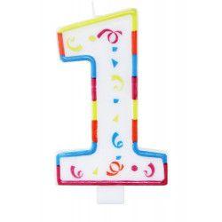 Déco festive, Bougie anniversaire chiffre 1, 22921, 2,25€