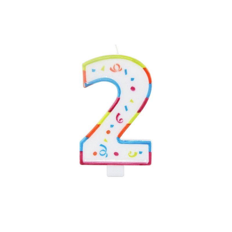 Bougie anniversaire chiffre 2 Déco festive 22922
