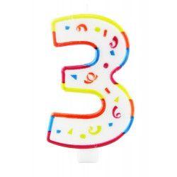 Bougie anniversaire chiffre 3 Déco festive 22923