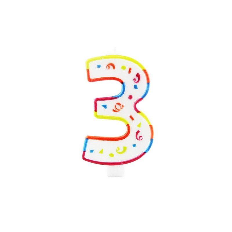 Déco festive, Bougie anniversaire chiffre 3, 22923, 2,25€