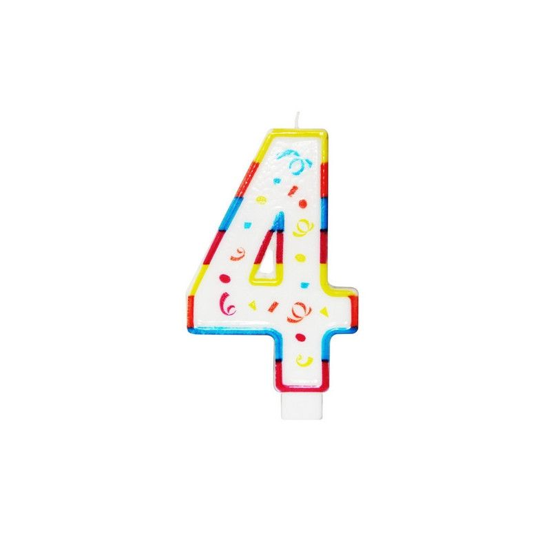 Déco festive, Bougie anniversaire chiffre 4, 22924BOUGIE, 2,25€