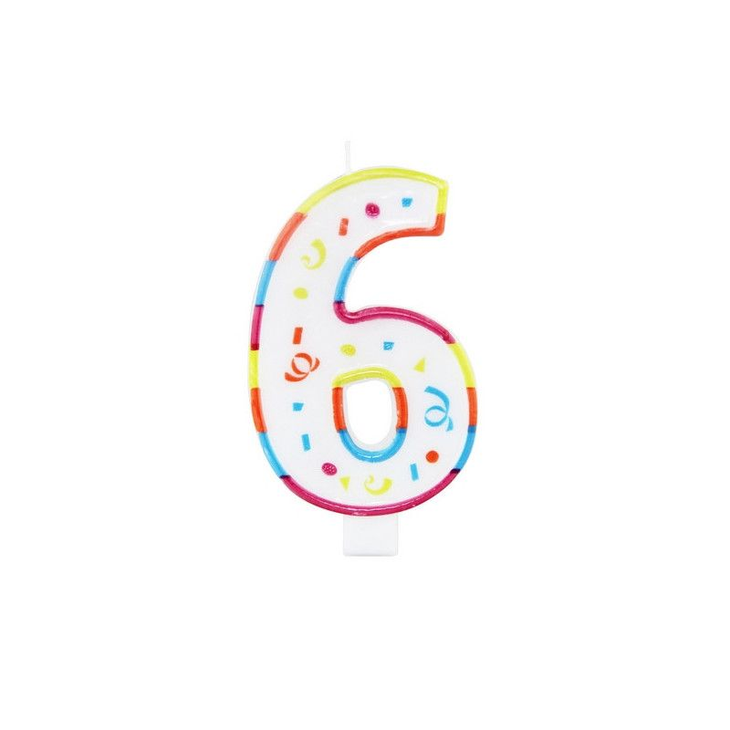 Bougie anniversaire chiffre 6 Déco festive 22926