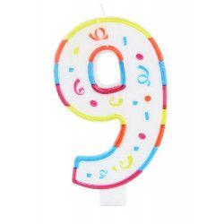 Bougie anniversaire chiffre 9 Déco festive 22929FOLAT