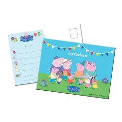 Déco festive, Cartes invitation Peppa Pig™ x 8, 24510, 2,95 €