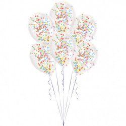 Sachet 6 ballons latex transparent avec confettis multicolores Déco festive 9903277