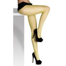 Collants résille fluo jaune adulte Accessoires de fête 02202