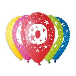 Sachet 10 ballons multicolores 30 cm chiffre 0 Déco festive BA19949