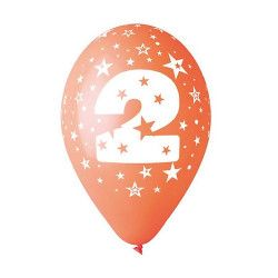 Sachet 10 ballons multicolores 30 cm chiffre 2 Déco festive BA19952