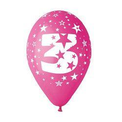 Sachet 10 ballons multicolores 30 cm chiffre 3 Déco festive BA19953