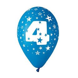 Sachet 10 ballons 30 cm multicolore chiffre 4 Déco festive BA19954