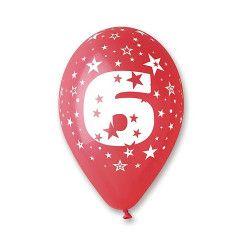 Sachet 10 ballons 30 cm multicolore chiffre 6 Déco festive BA19956