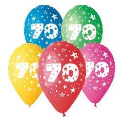 Sachet 10 ballons métallisés multicolores 30 cm nombre 70 Déco festive BA21477