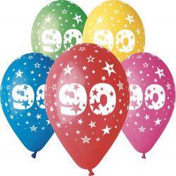 Sachet 10 ballons métallisés 30 cm multicolore chiffre 90 Déco festive BA21479